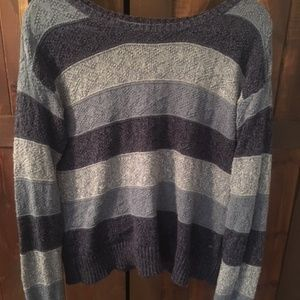 American Eagle Stripped Knit Blue Sweater
